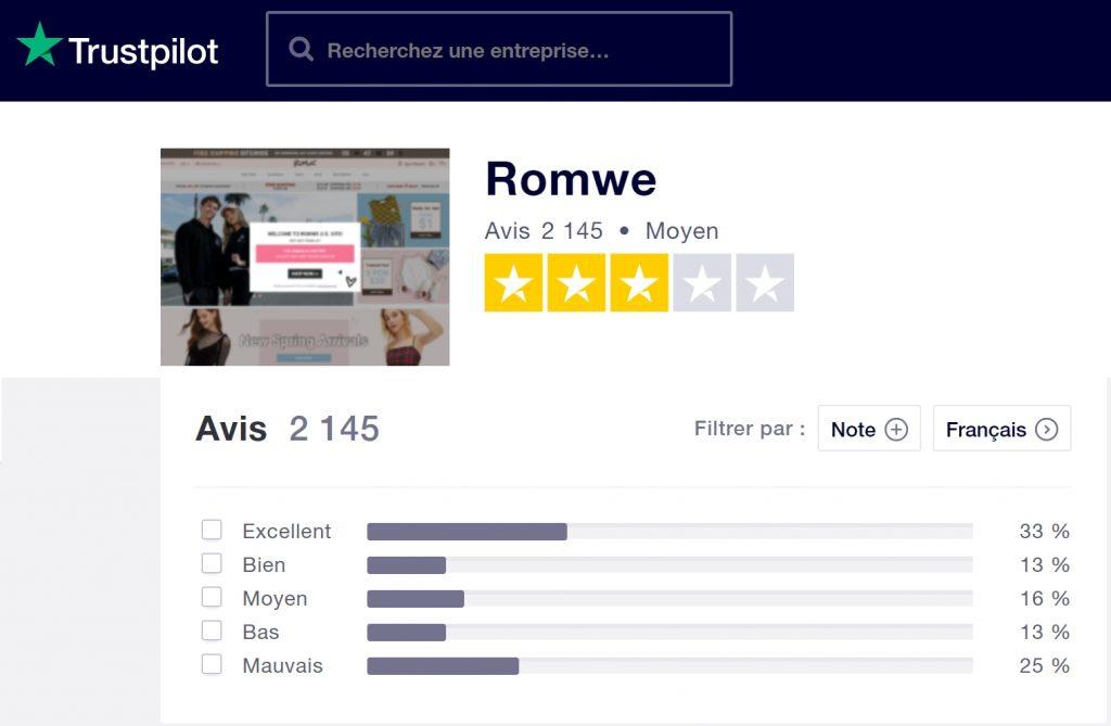 Avis clients Romwe - TrustPilot